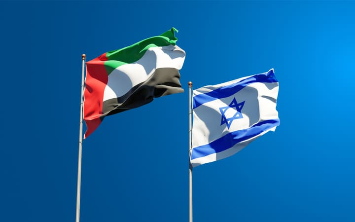beautiful-national-state-flags-israel-united-arab-emirates-uae-together-sky-background(1)